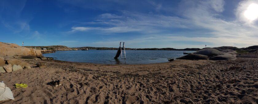 Unser kleiner Privatstrand beim Camping in Schweden