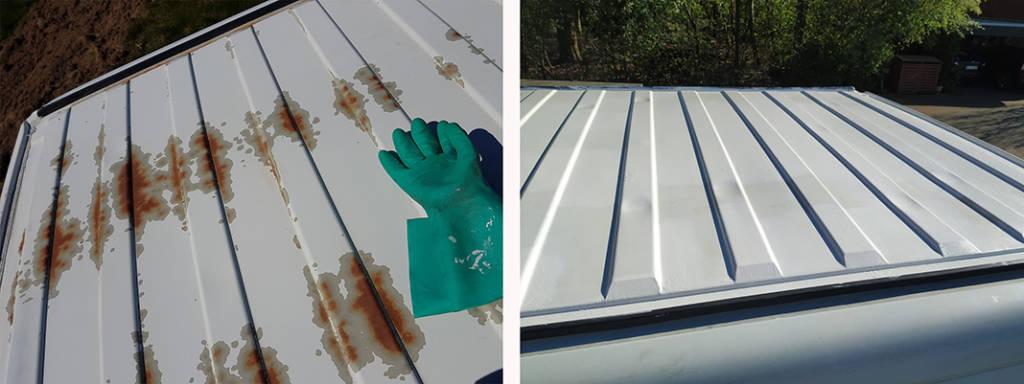 Rostbehandlung auf dem Dach unseres Wohnmobils Ausbaus - Vorher und nachher